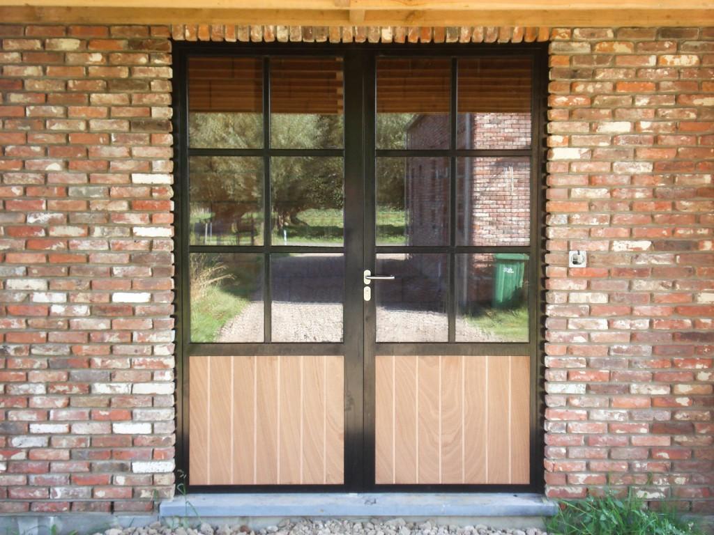 Dubbele deur glas en hout 1